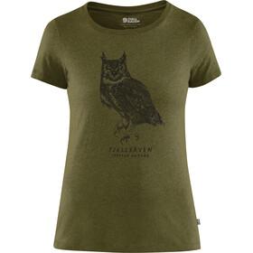 Fjällräven Owl Print Kortærmet T-shirt Damer oliven